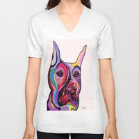 doberman V-neck T-shirts featuring Doberman by EloiseArt