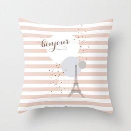 Bonjour (pink) Throw Pillow