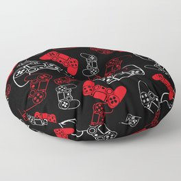 Video Games Red on Black Floor Pillow