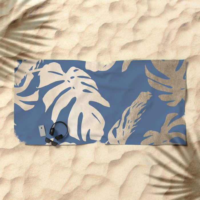 Simply Tropical Palm Leaves White Gold Sands on Aegean Blue Beach Towel
