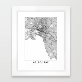 Melbourne White Map Framed Art Print