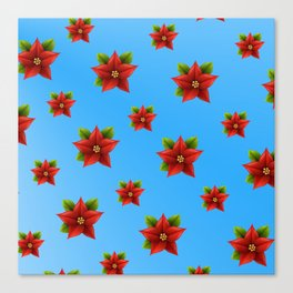 Red Flowers Pattern 2 Canvas Print