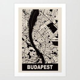 Budapest, Hungary, city map, Cararra Art Print