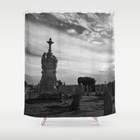 portland Shower Curtains featuring Portland Graveyard by Wealie
