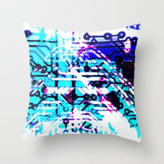 circuit board blue Throw Pillow