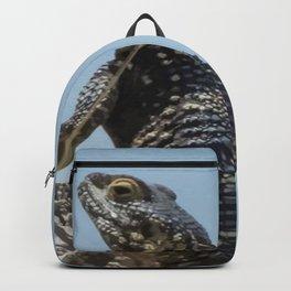 Lizard Sunbathing On A Rock Vector Backpack