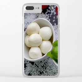 Trio of tomatoes basil fresh mozzarella Clear iPhone Case