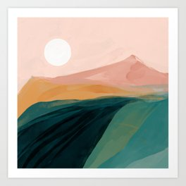 pink, green, gold moon watercolor mountains Art Print