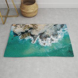 Ocean Waves Crushing, Drone Photography, Aerial Landscape Photo, Large Printable Photography, Ocean Rug