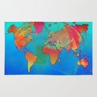 map of the world Area & Throw Rugs featuring World Map by Roger Wedegis