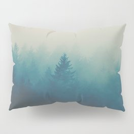 MIsty Turquoise Blue Pine Forest Foggy Parallax Tree Landscape Silhouette Pillow Sham