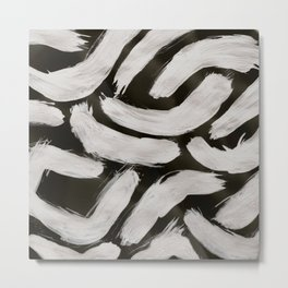 Worms, Abstract, White & Black Metal Print