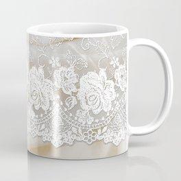 Bride lace - Luxury white floral elegant lace on cream silk fabric Coffee Mug