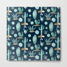 CACTUS & SUCCULENT | Desert Plants on Navy Blue Metal Print