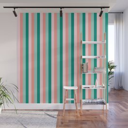 Soft Pink , Peach Amber, Yucca and Arbor Green Pinstripes Wall Mural