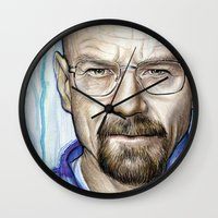 walter white Wall Clocks featuring Walter White Portrait by Olechka