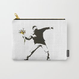 Banksy - Man Throwing Flowers - Antifa vs Police Manifestation Design For Men, Women, Poster Carry-All Pouch