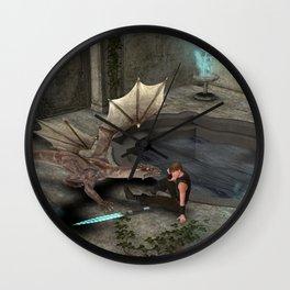 Dragon with his companion Wall Clock