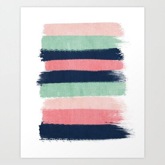 Painted stripe stripes mint navy pink modern color palette painterly minimalist nursery art Art Print