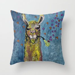 Llama with pipe Throw Pillow