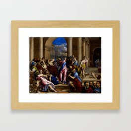 "El Greco (Domenikos Theotokopoulos) ""Christ Driving the Money Changers from the Temple"" Framed Art Print"