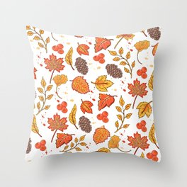 Autumn fall design with dry leaves Throw Pillow