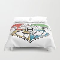 hogwarts Duvet Covers featuring Hogwarts Houses by Vagalumie