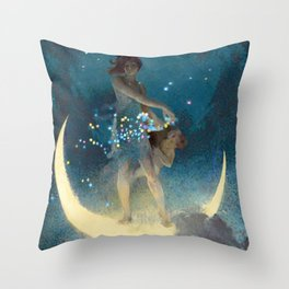 La luna, Spring Scattering Colored Stars constellation landscape painting by Edwin Blashfield Throw Pillow