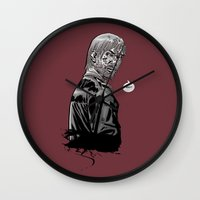 rick grimes Wall Clocks featuring The Walking Dead Rick Grimes by Cursed Rose