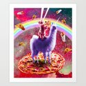 Laser Eyes Outer Space Cat Riding On Llama Unicorn by randomgalaxy