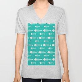 Tiffany Blue Fish Skeleton Pattern Design Big Unisex V-Neck