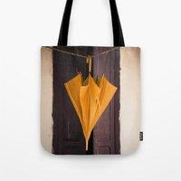 umbrella Tote Bags featuring Umbrella by Maria Heyens