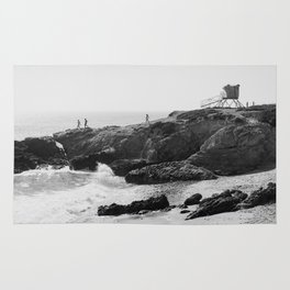 Leo Carrillo State Beach | Malibu California | Black and White Photography | Malibu Photography Rug