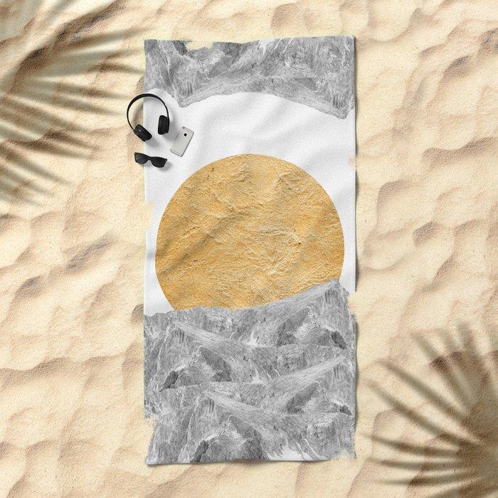 Modern Abstract - Sun and Mountains Beach Towel