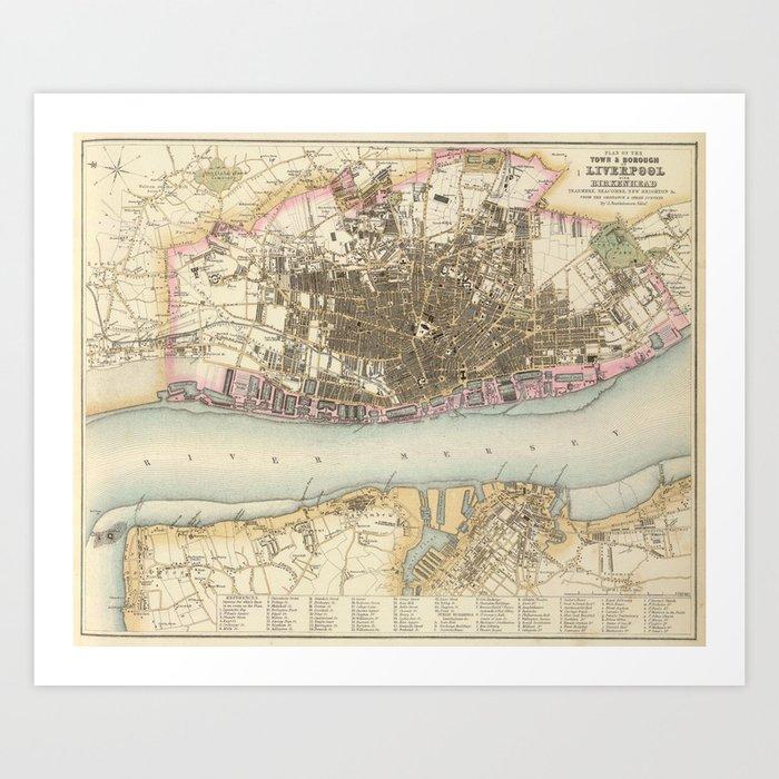 Vintage Map of Liverpool England (1872) Art Print by bravuramedia