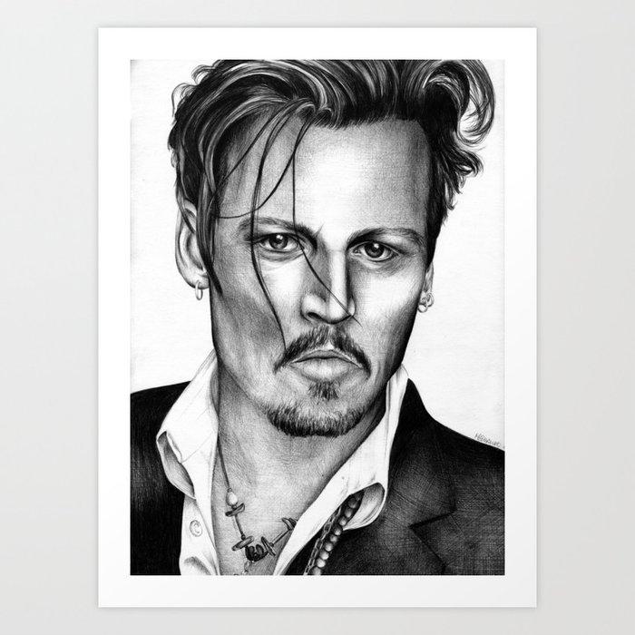 Johnny Depp Ballpoint Pen Drawing Art Print by mcdermottart