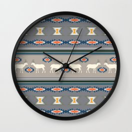 Decorative Christmas pattern with deer Wall Clock