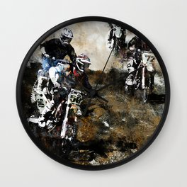 """Dare to Race"" Motocross Dirt-Bike Racers Wall Clock"
