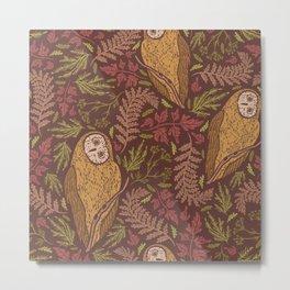 owl trees leaves Metal Print