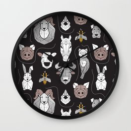 Friendly Geometric Farm Animals // black background black and white brown grey and yellow pigs queen bees lambs cows bulls dogs cats horses chickens and bunnies Wall Clock
