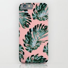Pink and Green Tropical Leaf Print iPhone Case