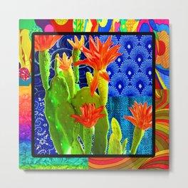 Orange Cactus Rainbow Metal Print