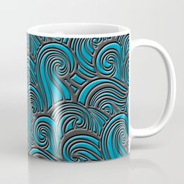 Waves Leather Pattern Blue and Gray Coffee Mug