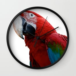 Close-Up Of A Green-Winged Macaw Background Removed Wall Clock