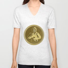 Kendo Swordsman Gold Medal Retro Unisex V-Neck