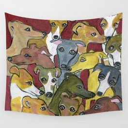 Greyhound Gathering on Maroon Wall Tapestry