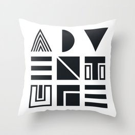 Geometric Adventure B&W Throw Pillow