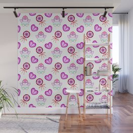 Lovely cute happy baby penguins with flapping wings, retro vintage lollipops and sweet candy hearts Wall Mural