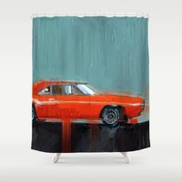 muscle Shower Curtains featuring The red muscle by mystudio69