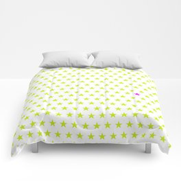 Lime green stars pattern and one single purple star Comforters
